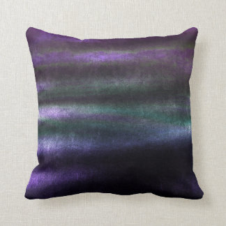 Tropical Green Aquatic Purple Stripes Lines Velvet Throw Pillow