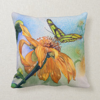 Tropical Green Butterfly Watercolor Pillow