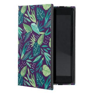 Tropical Green Leafs Pattern On Purple Background iPad Mini Case
