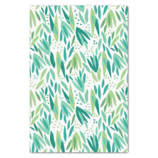 Tropical Green Leafs Pattern Tissue Paper