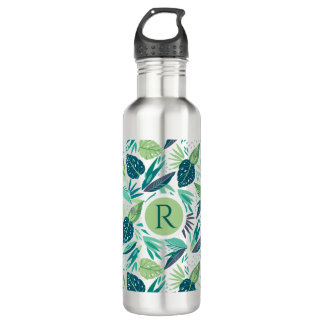 Tropical Green Leafs Seamless Pattern Monogram 710 Ml Water Bottle