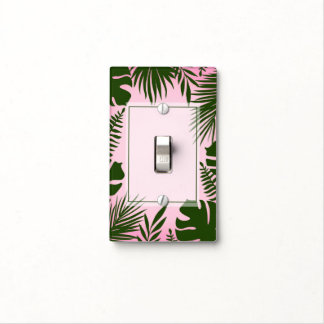 Tropical Green Leaves Pink Chic Botanical Plants Light Switch Cover