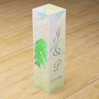 Tropical Green Leaves Watercolor Monogram Wine Box