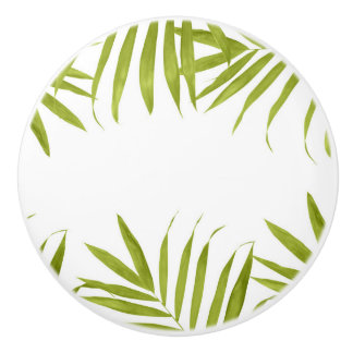 Tropical Green Leaves White & Green Tropical Ceramic Knob