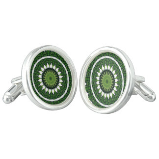 Tropical Green Mandala Cufflinks
