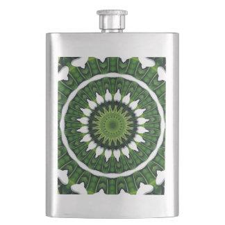 Tropical Green Mandala Hip Flask