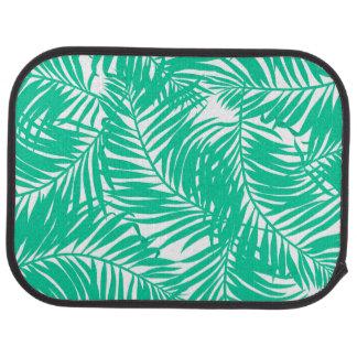 Tropical green palm leaves car mat