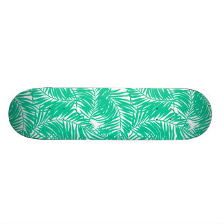 Tropical green palm leaves custom skate board
