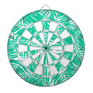 Tropical green palm leaves dartboard