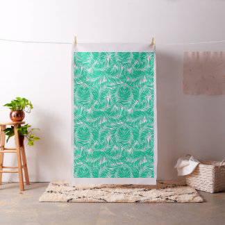 Tropical green palm leaves fabric
