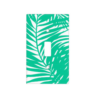 Tropical green palm leaves light switch cover