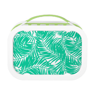 Tropical green palm leaves lunch box
