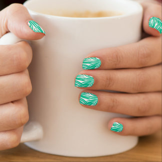 Tropical green palm leaves minx nail art