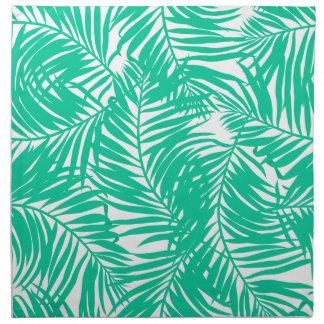 Tropical green palm leaves napkin