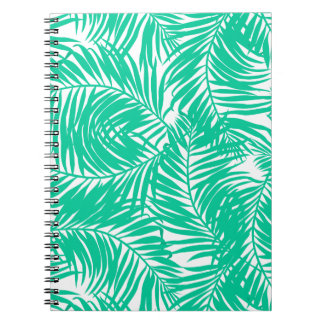 Tropical green palm leaves notebook