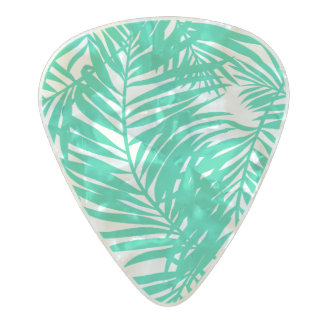 Tropical green palm leaves pearl celluloid guitar pick