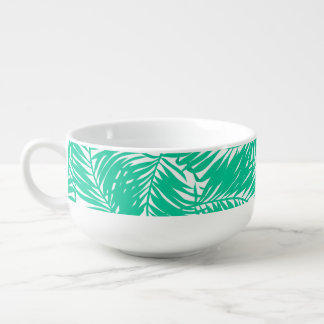 Tropical green palm leaves soup mug