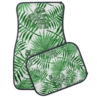 Tropical Green Palm Leaves Summer Pattern Car Mat