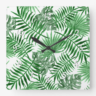 Tropical Green Palm Leaves Summer Pattern Clock