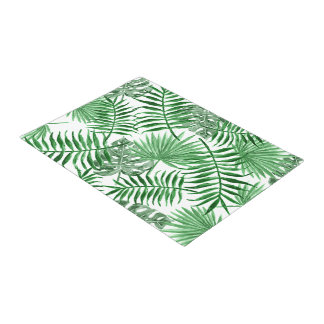 Tropical Green Palm Leaves Summer Pattern Doormat