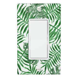 Tropical Green Palm Leaves Summer Pattern Light Switch Cover
