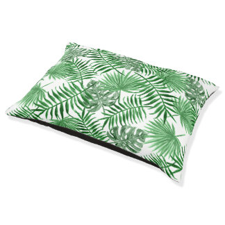 Tropical Green Palm Leaves Summer Pattern Pet Bed