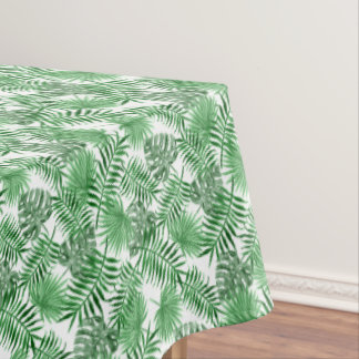 Tropical Green Palm Leaves Summer Pattern Tablecloth
