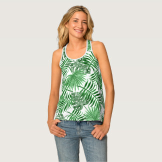 Tropical Green Palm Leaves Summer Pattern Tank Top