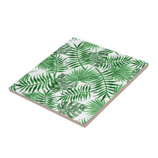 Tropical Green Palm Leaves Summer Pattern Tile
