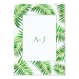 Tropical green palm leaves wedding invitation card