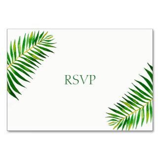 Tropical green palm leaves wedding invitation rsvp card