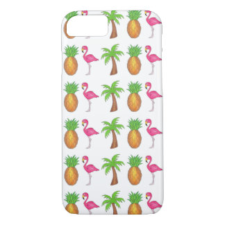 Tropical Green Palm Tree Pineapple Pink Flamingo iPhone 8/7 Case