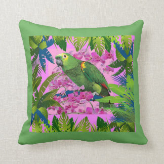 TROPICAL GREEN PARROT JUNGLE ART THROW PILLOW