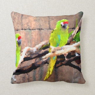 tropical green parrots painted look pillow
