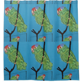 tropical green parrots pattern