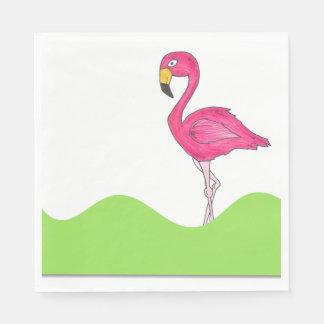 Tropical Green Pink Flamingo Bird Print Napkins