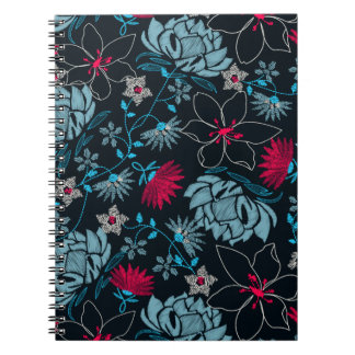 Tropical green printed embroidery floral notebook