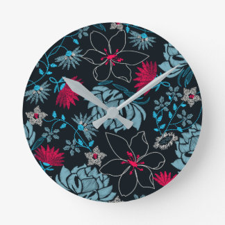 Tropical green printed embroidery floral round clock