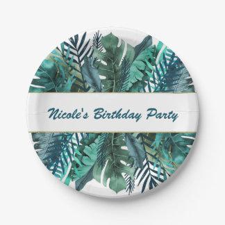 Tropical Green Teal Leaves Elegant White Wedding Paper Plate