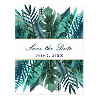 Tropical Green Teal Leaves Wedding Save the Date Postcard