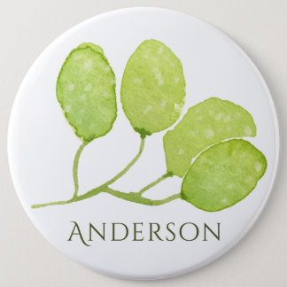 TROPICAL GREEN WATERCOLOR FOLIAGE LEAF  MONOGRAM 6 INCH ROUND BUTTON