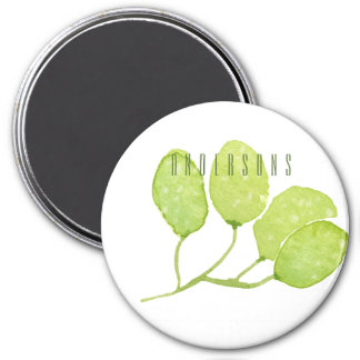 TROPICAL GREEN WATERCOLOUR FOLIAGE LEAF  MONOGRAM 3 INCH ROUND MAGNET