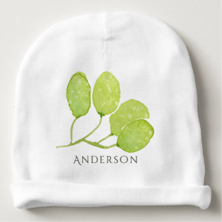 TROPICAL GREEN WATERCOLOUR FOLIAGE LEAF  MONOGRAM BABY BEANIE