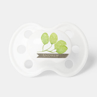 TROPICAL GREEN WATERCOLOUR FOLIAGE LEAF  MONOGRAM BABY PACIFIER