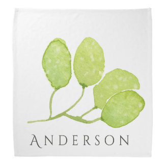 TROPICAL GREEN WATERCOLOUR FOLIAGE LEAF  MONOGRAM BANDANA