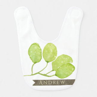 TROPICAL GREEN WATERCOLOUR FOLIAGE LEAF  MONOGRAM BIB
