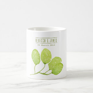 TROPICAL GREEN WATERCOLOUR FOLIAGE LEAF  MONOGRAM COFFEE MUG