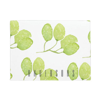 TROPICAL GREEN WATERCOLOUR FOLIAGE LEAF  MONOGRAM DOORMAT