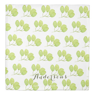 TROPICAL GREEN WATERCOLOUR FOLIAGE LEAF  MONOGRAM DUVET COVER