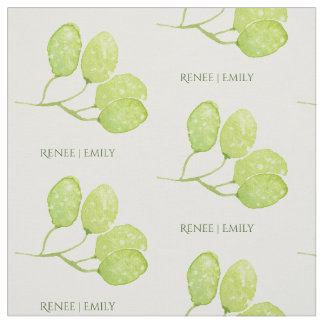 TROPICAL GREEN WATERCOLOUR FOLIAGE LEAF  MONOGRAM FABRIC